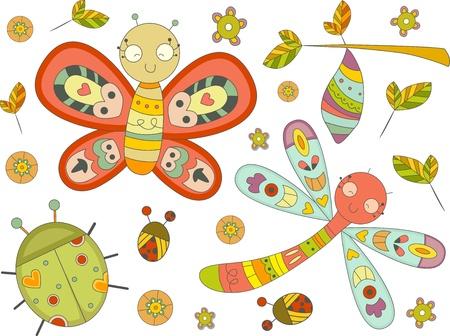 capullo: Ilustración de insectos Doodles elementos de diseño