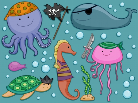Illustration of Different Underwater Creatures dressed as Pirates Design Elements illustration