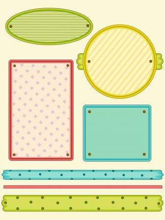 Illustration of Colored Label Design Elements