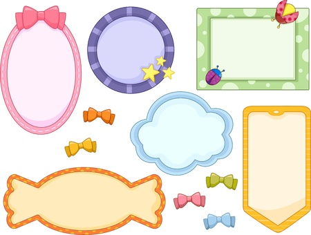 kiddie: Illustration of cute candy-colored frames in white background with Ribbons