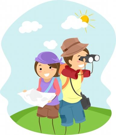 adventurers: Illustration of Stickman Couple Adventurers Stock Photo