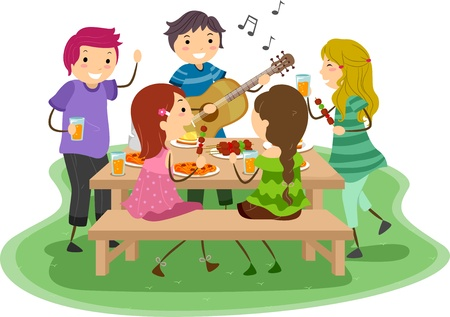 woman guitar: Illustration of People having a Barbeque Party