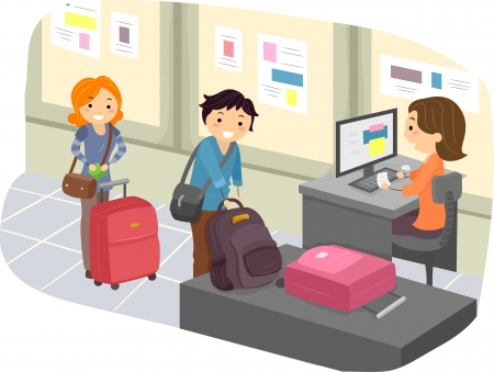 Illustration of Stickman People checking in their Luggage at the Airport