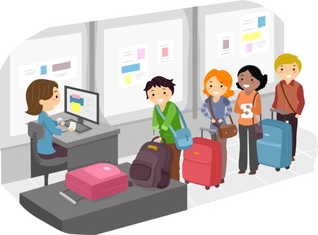 Illustration of People Waiting in Long Line for Luggage Check-In at the Airport illustration