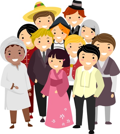 multiracial: Illustration of People with Different Nationalities wearing their National Costumes