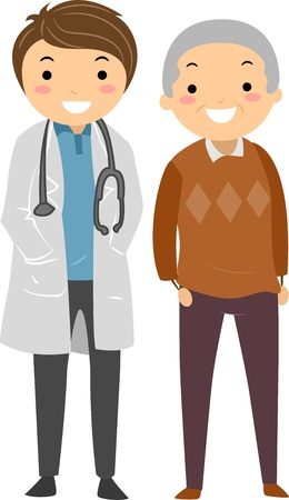 old man cartoon: Illustration of an Elderly Man with his Doctor