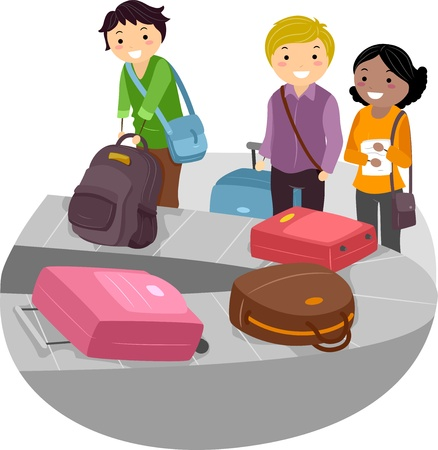 airport cartoon: Illustration of People waiting for their Baggage on the Airport Luggage Carousel