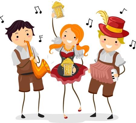 acordeón: Ilustración de la gente celebrando Oktoberfest