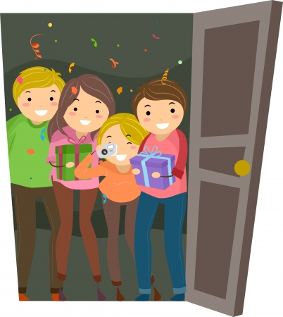 surprise party: Illustration of Group of People having a Surprise Party for the one who Opened the Door Stock Photo