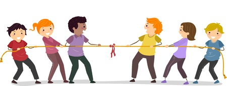 tug war: Illustration of Stickman People playing Tug Of War Stock Photo
