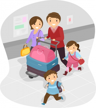 asian family: Illustration of Stickman Family at the Airport