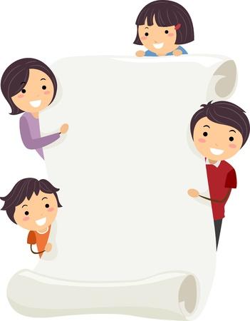 family clipart: Illustrazione di una famiglia detiene un banner vuoto