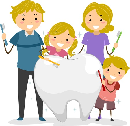 dentist cartoon: Illustration of Stickman Family holding a Toothbrush cleaning a Big Tooth Stock Photo