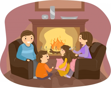 family living room: Illustration of Stickman Family enjoyng in front of the Fireplace