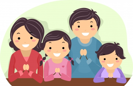 ni�o orando: Ilustraci�n de una familia Orando Juntos