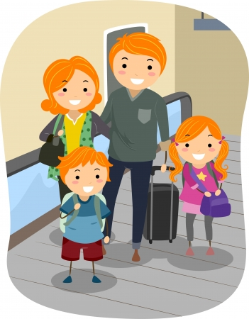 Illustration of a Stickman Family riding a Moving Walkway in an Airport illustration