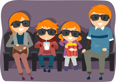 cine: Illustration of a Stickman Family Watching a 3D or 4D Movie Stock Photo