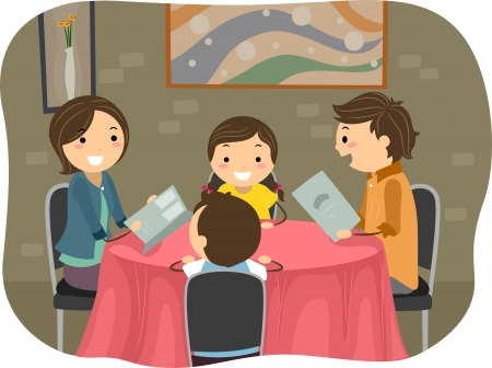 Illustration of a Stickman Family having a Dinner in a Restaurant illustration