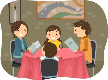 Illustration of a Stickman Family having a Dinner in a Restaurant Stock Illustration - 19110077