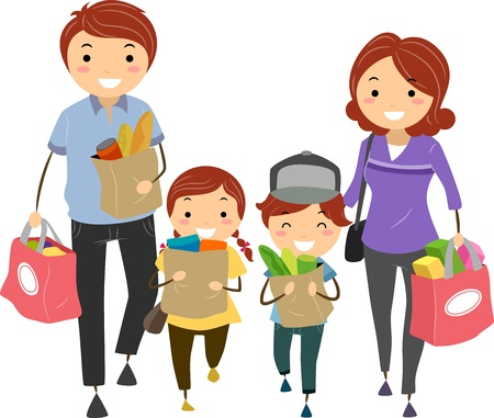 family isolated: Illustration of Stickman Family after Shopping for Groceries Stock Photo