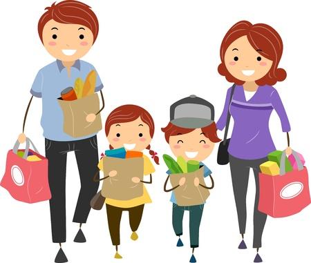 ni�os de compras: Ilustraci�n de Stickman Familia despu�s de las compras en el supermercado