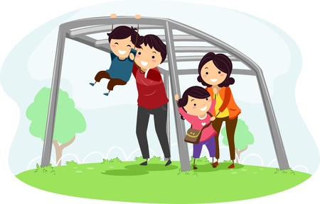 jungle gym: Illustration of a Family helping their Kids climb a Monkey Bar