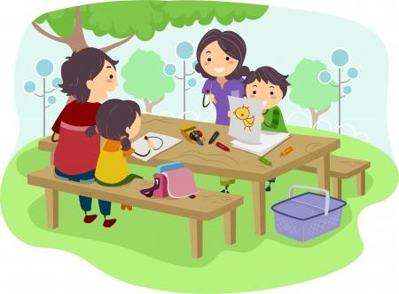 bonhomme allumette: Illustration d'une famille avec enfants dessin tout en ayant leur pique-nique dans le parc Banque d'images