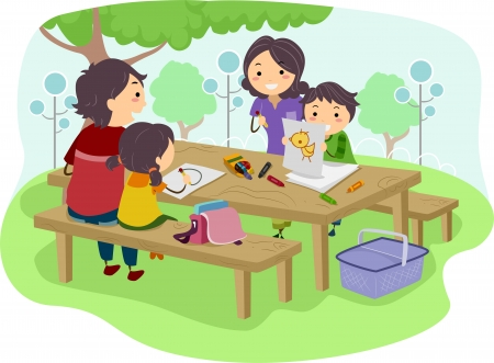 asian family: Illustration of a Family with Kids drawing while having their Picnic at the Park