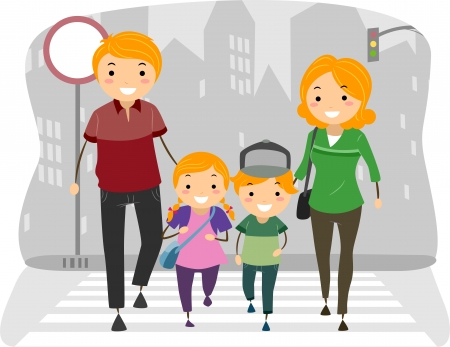 Illustration of a Family Crossing the street on a Pedestrian Lane Stock Illustration - 19110109