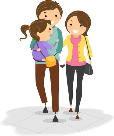 Illustration of Stickman Family with the Father Carrying their Daughter while Walking Stock Illustration - 19110060