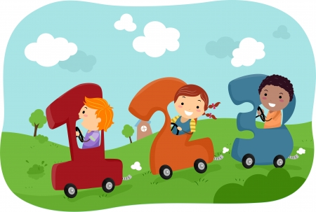 children school clip art: Illustration of Stickman Kids riding in Number-Shaped Cars