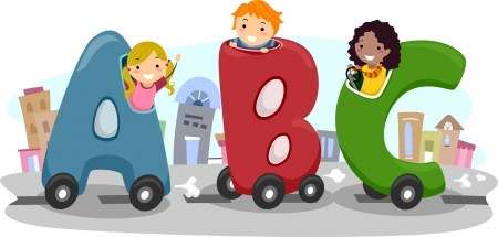 early education: Illustration of Kids riding in Letter-Shaped Car Stock Photo