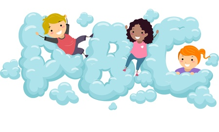 early education: Illustration of Kids playing in an ABC shaped Cloud