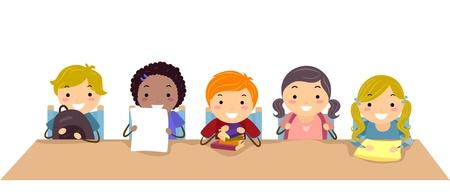 schooler: Illustrazione di Stickman bambini in una classe Archivio Fotografico