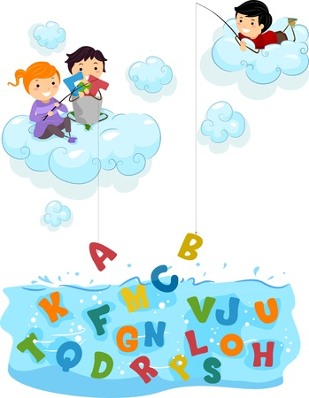 schooler: Illustration of Kids on Clouds fishing for Letters at the Sea