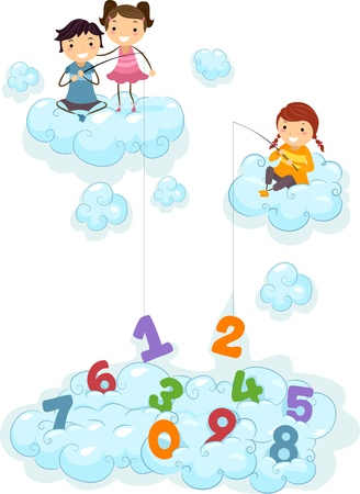 Illustration of Kids on Clouds fishing for Numbers illustration