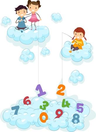 schooler: Illustrazione di bambini sulla pesca Clouds per Numbers