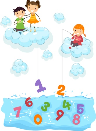 cartoon math: Illustration of Kids on Clouds fishing for Numbers at the Sea Stock Photo