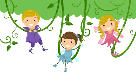 onstage: Background Illustration of Kids dressed as Fairies for a Stage Play