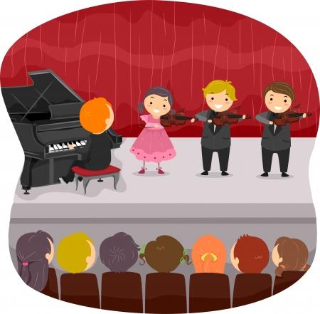 bonhomme allumette: Illustration des enfants qui font un r�cital de musique Banque d'images