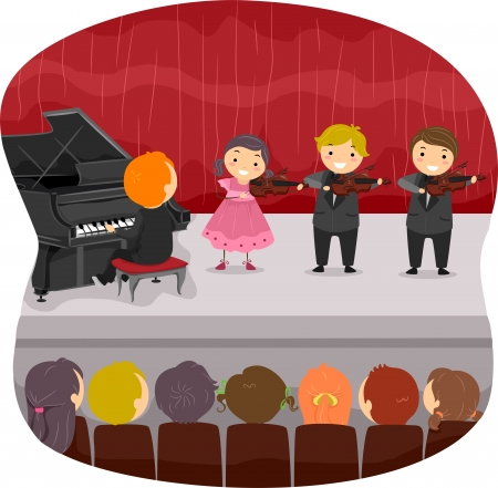 Illustration of Kids doing a Musical Recital illustration