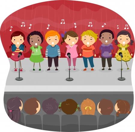 cantando: Ilustración de niños cantando en el escenario Foto de archivo