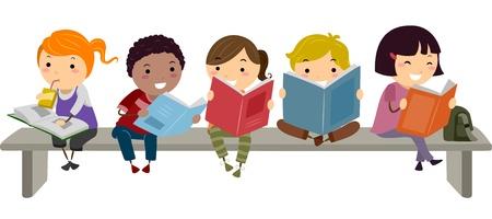 ni�os leyendo: Ilustraci�n de los ni�os que se sientan en un banco, mientras que la lectura