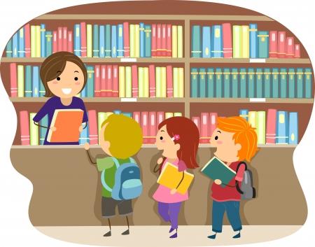 schooler: Illustrazione di ragazzi in una biblioteca Archivio Fotografico