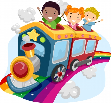 Illustration of Stickman Kids on Top of a Rainbow Train Stock Photo