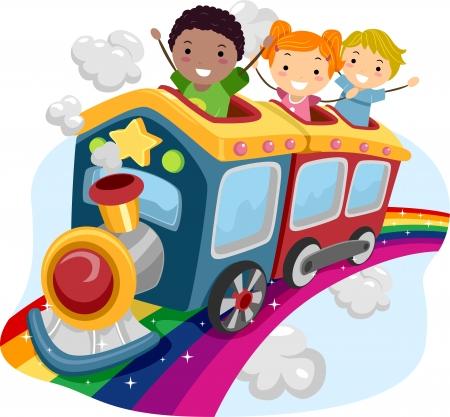 arcoiris caricatura: Ilustración de Stickman niños encima de un tren del arco iris Foto de archivo