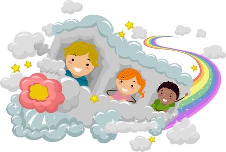 playmates: Ilustración de los niños en un tren Nube Rainbow