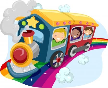tren caricatura: Ilustración de los niños en un tren del arco iris