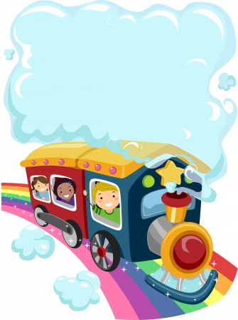 Illustration of Kids on a Rainbow Train with a Cloud of Smoke