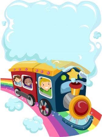 tren caricatura: Ilustración de los niños en un tren del arco iris con una nube de humo